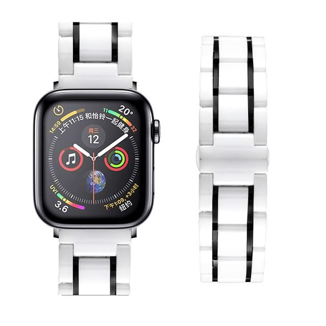 Watchbands white black / 38mm or  40mm Ceramic Strap for Apple Watch 5 Band 44mm 40mmm Luxury Stainless steel bracelet iWatch band 42mm 38mm 40 42 44 mm series 3 4 5|Watchbands|