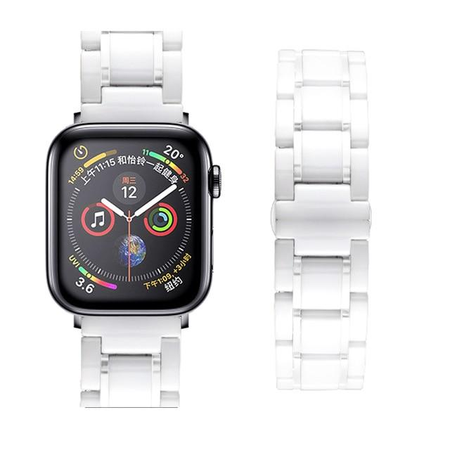 Watchbands white white / 38mm or  40mm Ceramic Strap for Apple Watch 5 Band 44mm 40mmm Luxury Stainless steel bracelet iWatch band 42mm 38mm 40 42 44 mm series 3 4 5|Watchbands|