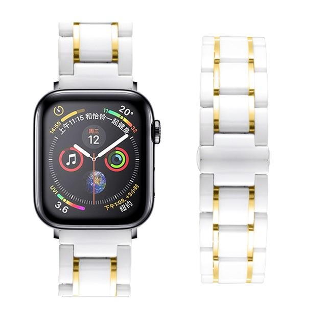 Watchbands white Gold / 38mm or  40mm Ceramic Strap for Apple Watch 5 Band 44mm 40mmm Luxury Stainless steel bracelet iWatch band 42mm 38mm 40 42 44 mm series 3 4 5|Watchbands|