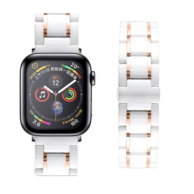 Watchbands white Rose / 38mm or  40mm Ceramic Strap for Apple Watch 5 Band 44mm 40mmm Luxury Stainless steel bracelet iWatch band 42mm 38mm 40 42 44 mm series 3 4 5|Watchbands|