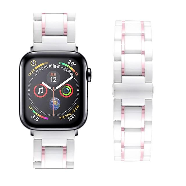 Watchbands white pink / 38mm or  40mm Ceramic Strap for Apple Watch 5 Band 44mm 40mmm Luxury Stainless steel bracelet iWatch band 42mm 38mm 40 42 44 mm series 3 4 5|Watchbands|