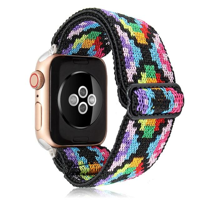 Watchbands Boho Multicolor Elastic Band Adjustment Nylon Loop Strap for Apple Watch Strap 38 40 42 44mm Iwatch 5/4/3 2 Man Women Watch Band for Apple Strap