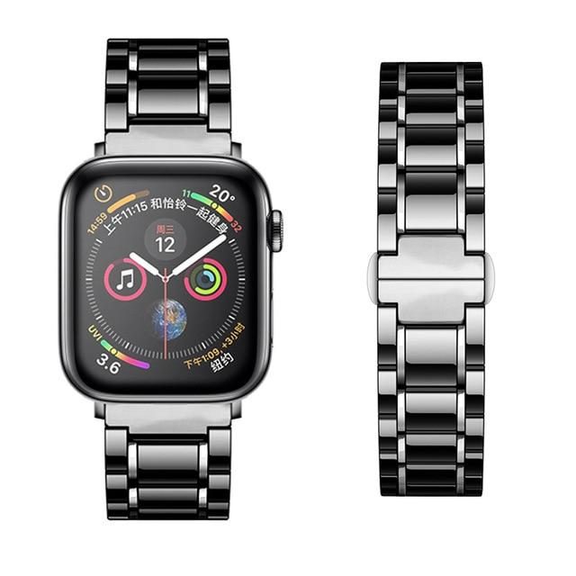 Watchbands black silver / 38mm or  40mm Ceramic Strap for Apple Watch 5 Band 44mm 40mmm Luxury Stainless steel bracelet iWatch band 42mm 38mm 40 42 44 mm series 3 4 5|Watchbands|