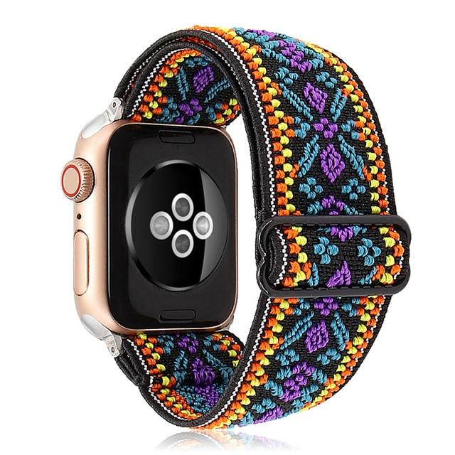 Watchbands 38mm / 40mm Boho Elastic Band Adjustment Nylon Loop Strap for Apple Watch Strap 38 40 42 44mm Iwatch 5/4/3 2 Man Women Watch Band for Apple Strap