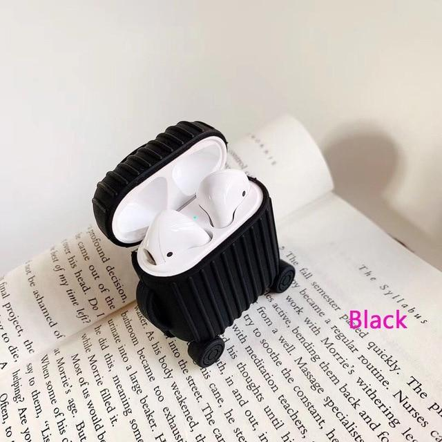 Earphone Accessories Black Apple Airpods Cover Soft Silicone strunk lovely Shockproof Case for AirPods Thickening Earphone anti-drop Protector Case - US Fast Shipping