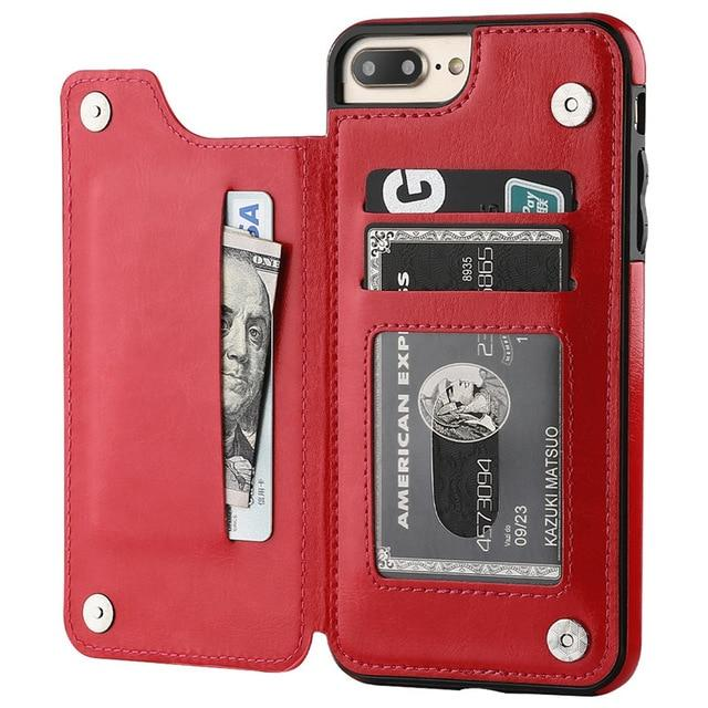 Fitted Cases for iPhone 6 6s / Red Business Wallet Cases For iPhone 12 Mini 11 Pro XS Max XR X Cover Retro Flip Leather Phone Case For iPhone 6S 6 7 8 Plus SE 2020|Fitted Cases|