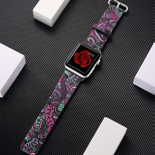Watchbands 12 / 38mm/40mm leather strap for apple watch band 42mm 38mm 44mm 40mm correa Printing flower bracelet watchband for iwatch pulseira 5/4/3/2/1