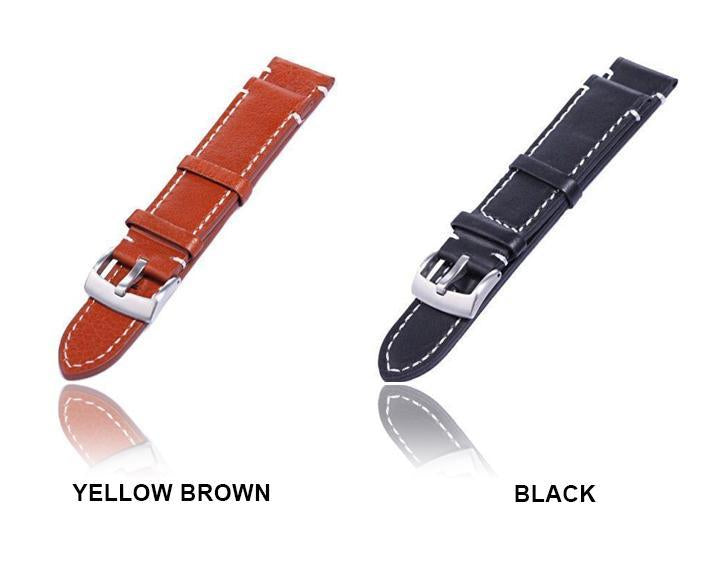Watchbands 18 20 22mm Men Stainless Steel Buckle Watch Strap Genuine Leather Band Length Long 12.5cm|Watchbands|