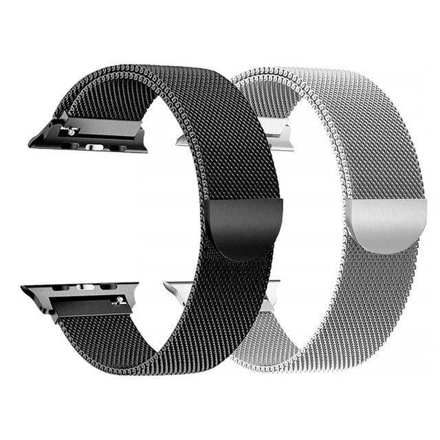 Watchbands 2 Milanese - Silver/Black / 44mm or 42mm 2 Pcs strap for Apple watch band 44 mm 40mm iWatch band 42mm 38 mm Stainless steel bracelet+Milanese Loop Apple watch 5 4 3 2 1