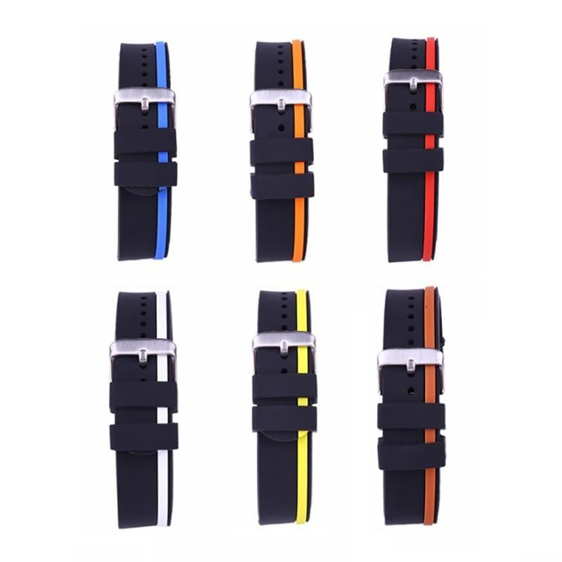 Watchbands 20mm 22mm 24mm Soft Rubber Sport Watchbands Diver Waterproof Silicone Watch Band Strap Double Colors Black Blue Red Orange2|Watchbands|