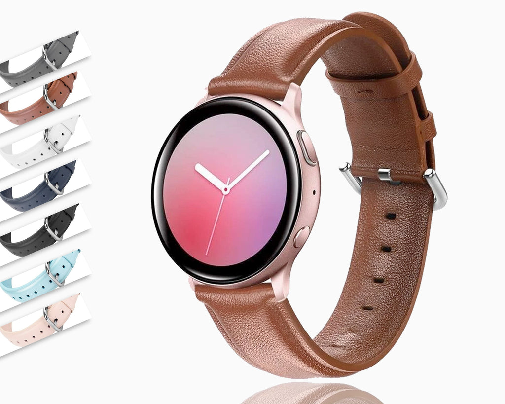 Watchbands 20mm 22mm Genuine Leather Watchband for Samsung Galaxy Watch 42mm Active Active2 40mm 44mm Quick Release Band Steel Clasp Strap