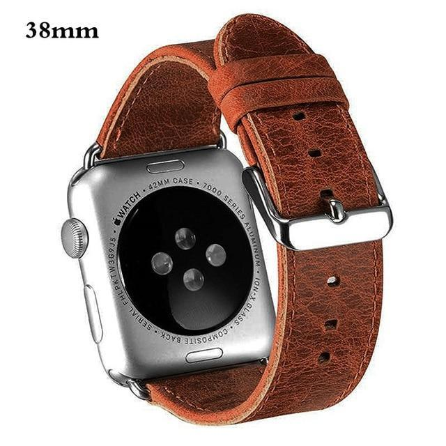 Watchbands 38mm brown genuine leather strap For Apple Watch band apple watch 5 4 3 44mm/40mm 42mm 38mm crazy horse classic metal clasp watchband belt