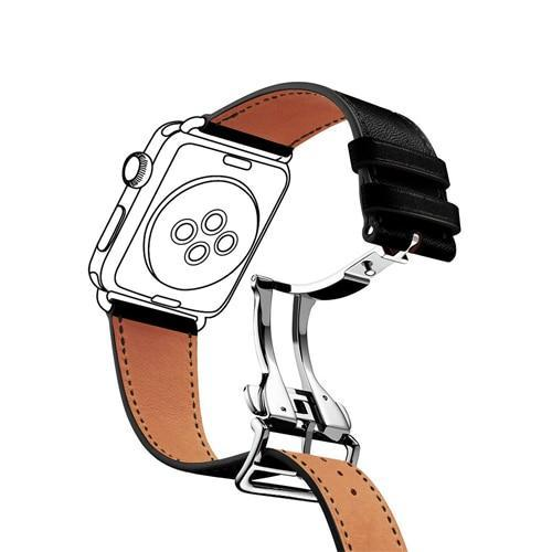 Watchbands 4 / 38mm Genuine leather strap for apple watch band 44mm 40mm 42mm 38mm fits iwatch hermes edition Series 5 4 3 2 1 bracelet buttefly Buckle watchband