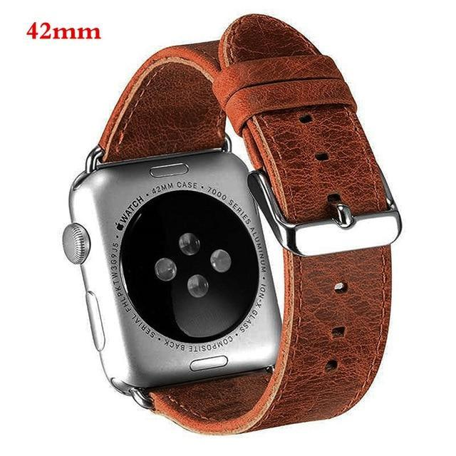 Watchbands 42mm brown genuine leather strap For Apple Watch band apple watch 5 4 3 44mm/40mm 42mm 38mm crazy horse classic metal clasp watchband belt