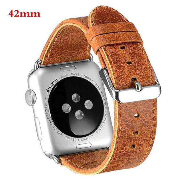 Watchbands 42mm orange genuine leather strap For Apple Watch band apple watch 5 4 3 44mm/40mm 42mm 38mm crazy horse classic metal clasp watchband belt