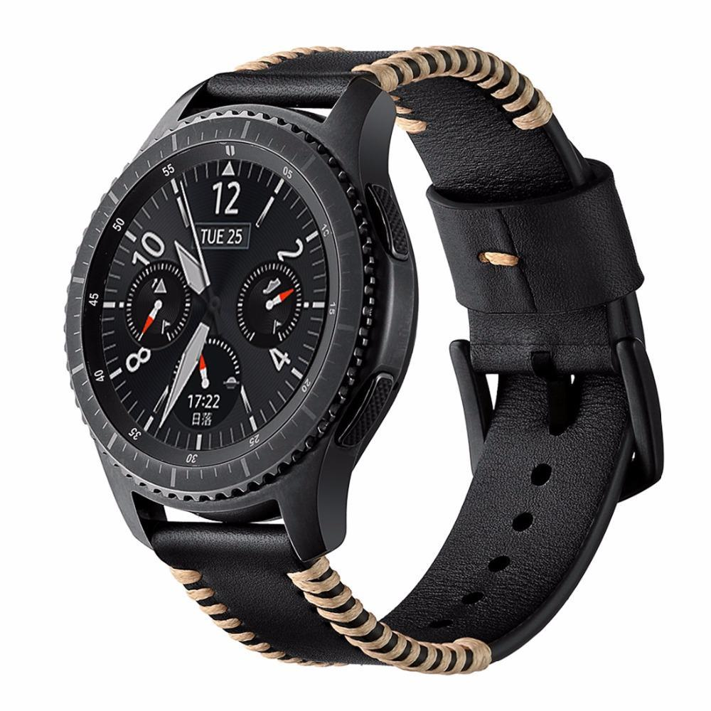 Watchbands 46mm watch Leather Strap For Samsung Gear S3 Frontier/Classic 22mm band Bracelet wristband Watchband Replacement belt wrist