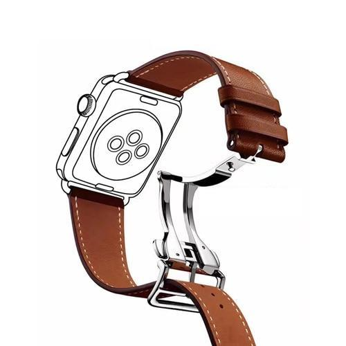 Watchbands 5 / 38mm Genuine leather strap for apple watch band 44mm 40mm 42mm 38mm fits iwatch hermes edition Series 5 4 3 2 1 bracelet buttefly Buckle watchband