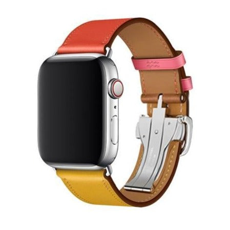 Apple watch genuine leather band fits iwatch 42mm/44mm 38mm/40mm Series 6 5 4 3 bracelet butterfly Buckle watchband - US Fast Shipping