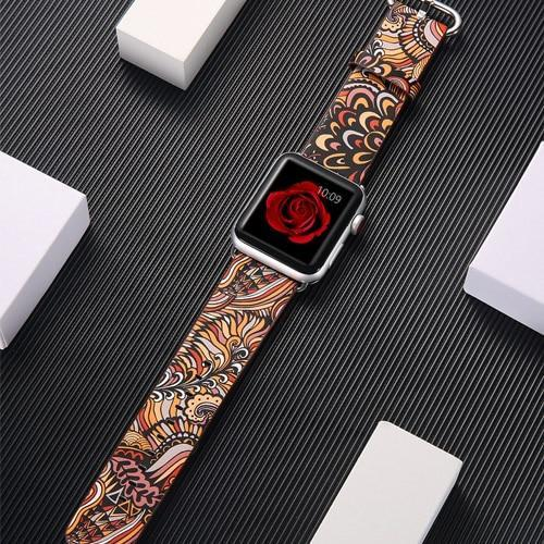 leather strap for apple watch band 42mm 38mm 44mm 40mm correa Printing flower bracelet watchband for iwatch pulseira 6/5/4/3/2/1 - US Fast Shipping