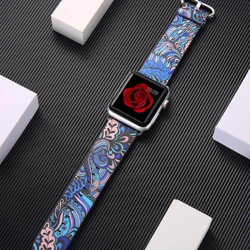 Watchbands 9 / 38mm/40mm leather strap for apple watch band 42mm 38mm 44mm 40mm correa Printing flower bracelet watchband for iwatch pulseira 5/4/3/2/1