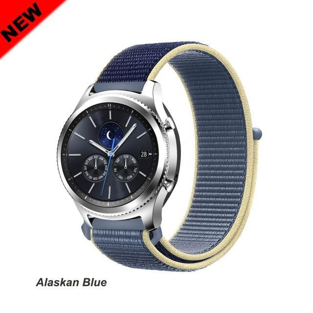 Watchbands Alaskan Blue 45 / 20mm Gear s3 Frontier strap For Samsung galaxy watch 46mm 42mm active 2 nylon 22mm watch band huawei watch gt strap amazfit bip 20 44