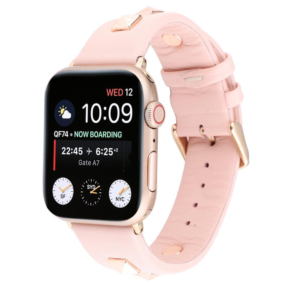 Watchbands Apple watch band Rose Gold Metal Rivet Leather Sport Strap For iWatch series 5 4 3 2 1 44mm 42mm 40mm 38mm