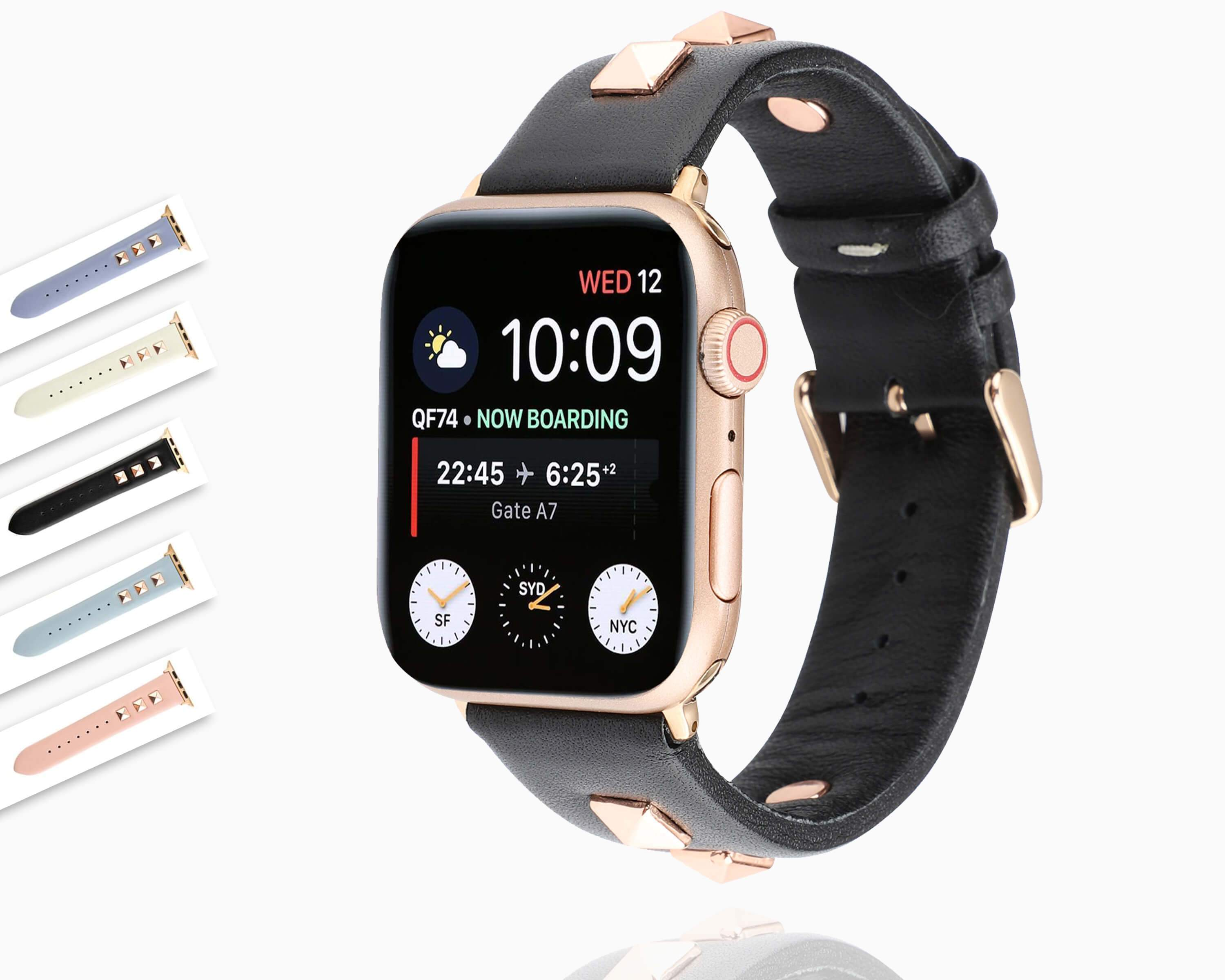 Apple Watch Band Rose Gold Metal Rivet Leather Sport Strap For Iwatch Www Nuroco Com