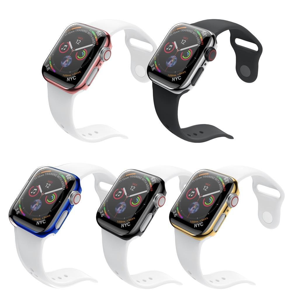 Watchbands Apple watch Case cover shiny bezel and Case + Band For 38mm 40mm 42mm 44mm iwatch series 4 3 2 1 protective screen clear protector shell - USA Fast Shipping