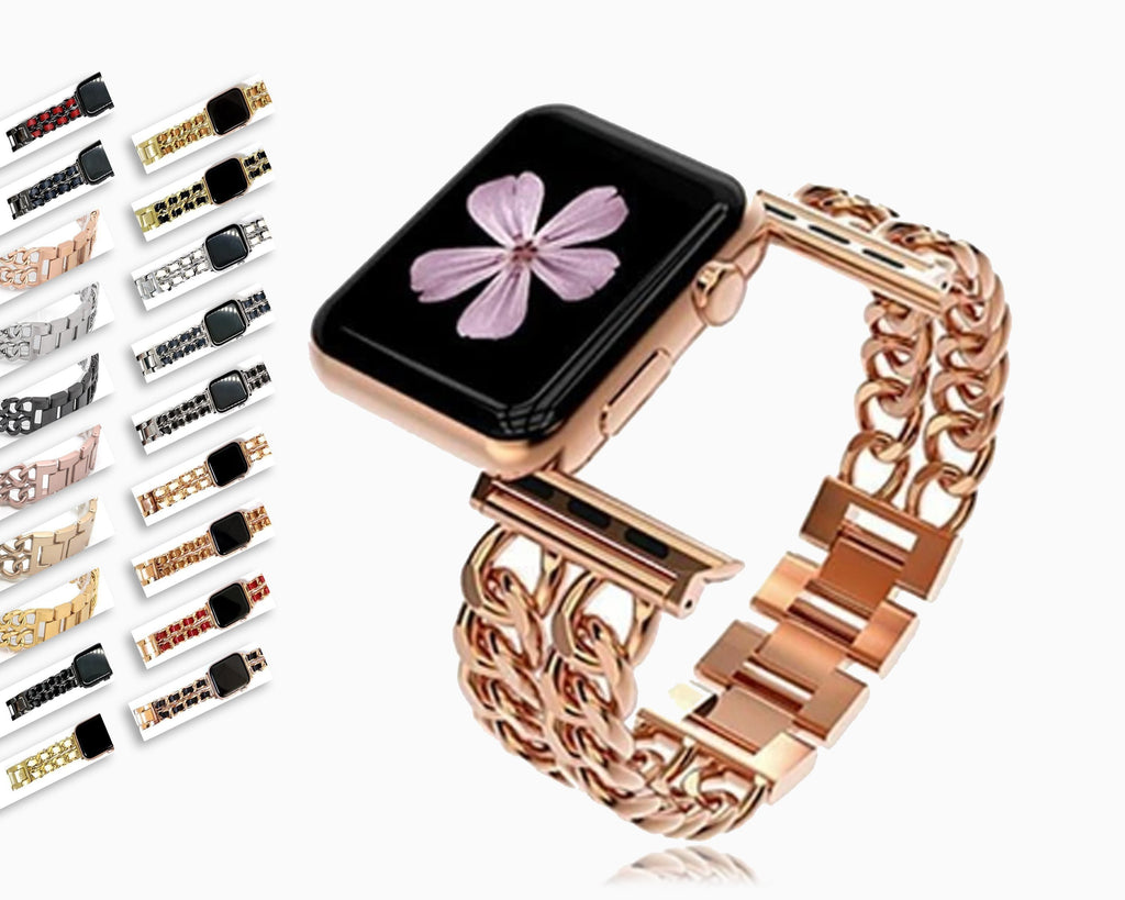Watchbands Apple Watch Chain Cowboy Metal Stainless Steel band, women Leather jewelry Bracelet Strap Series  5 4 3 2 1 38/40mm 42/44mm