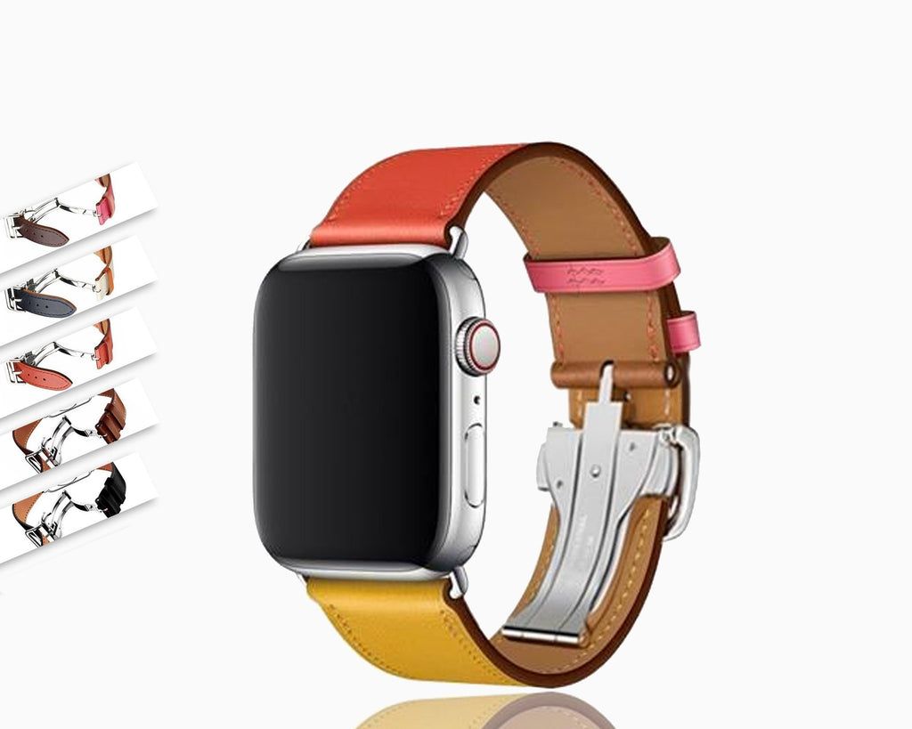Watchbands Apple watch genuine leather band fits iwatch hermes 42mm/44mm 38mm/40mm Series 5 4 3 bracelet butterfly Buckle watchband - US Fast Shipping
