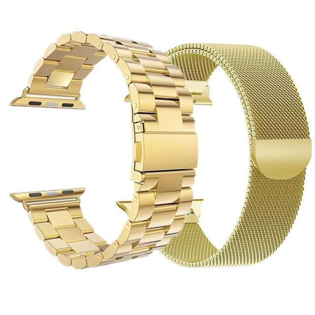 Watchbands Assorted - Gold / 44mm or 42mm 2 Pcs strap for Apple watch band 44 mm 40mm iWatch band 42mm 38 mm Stainless steel bracelet+Milanese Loop Apple watch 5 4 3 2 1