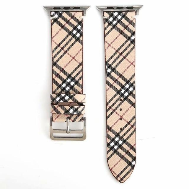 Watchbands Beige / 38mm-40mm Patterned Plaid Leather Wristband Strap for Apple Watch Series 5/4/3/2/1 gen Replacement for iWatch Bands
