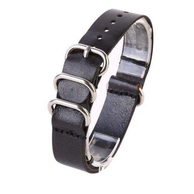 Watchbands Black / 18mm Watch Band Strap Genuine Leather Stainless Steel Ring Pin Buckled Wristband Wristwatch Bands Replacement Accessories|Watchbands|
