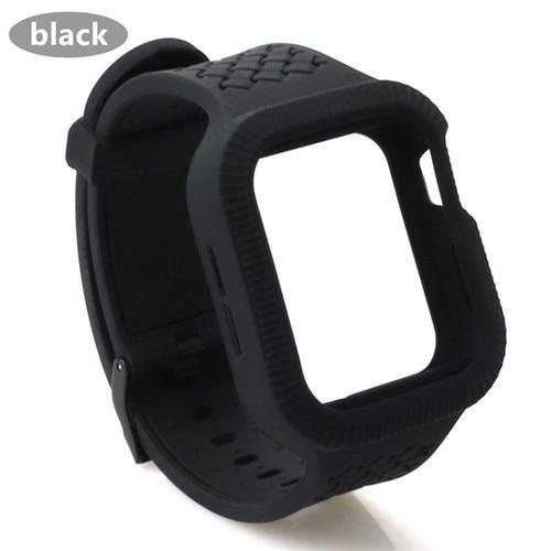 Watchbands black / 42mm/44mm Case+watch strap For Apple watch band 44 mm/40mm iWatch band 42mm 38mm Woven Silicone watchband bracelet Apple watch 5 4 3 2 1 40