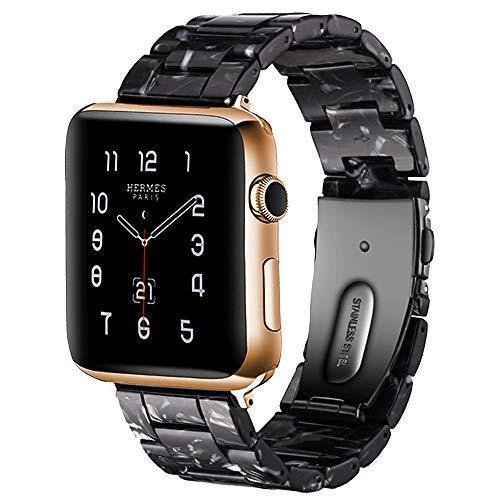 Watchbands black bloom / 42mm/44mm Resin Strap For Apple watc0h 5 4 44mm 40mm iwatch band 42mm 38mm stainless steel buckle Watchband bracelet Apple watch 5 4 3 2 1