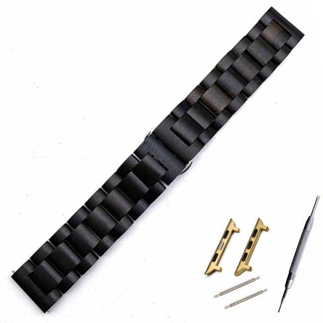 Watchbands Black gold adapter / 38mm Natural Wood Watch Bracelet for Apple Watch Band 38/42mm Luxury Watch Accessories for IWatch Strap Watchband with Adapters