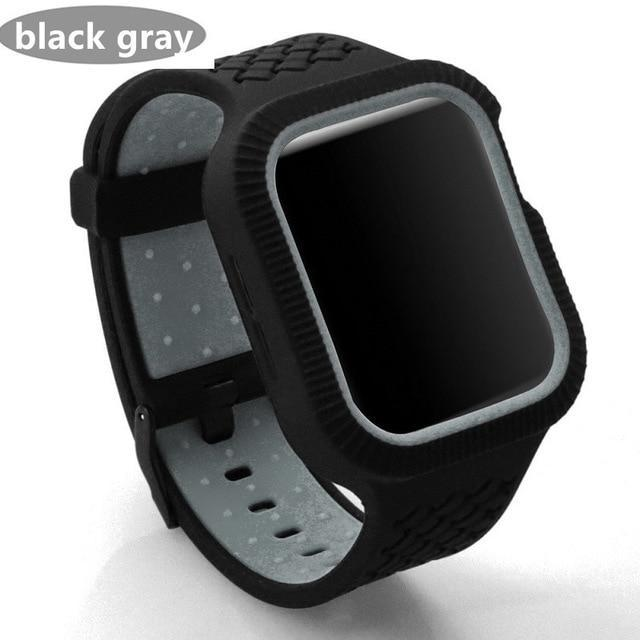 Watchbands black gray / 42mm/44mm Case+watch strap For Apple watch band 44 mm/40mm iWatch band 42mm 38mm Woven Silicone watchband bracelet Apple watch 5 4 3 2 1 40