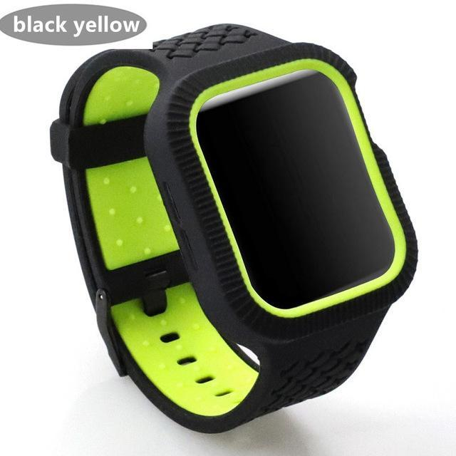 Watchbands black green / 42mm/44mm Case+watch strap For Apple watch band 44 mm/40mm iWatch band 42mm 38mm Woven Silicone watchband bracelet Apple watch 5 4 3 21 40