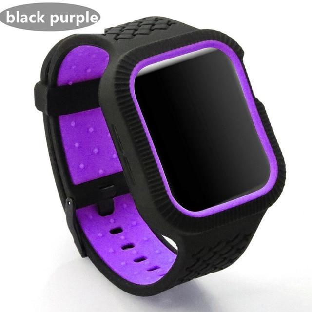 Watchbands black purple / 42mm/44mm Case+watch strap For Apple watch band 44 mm/40mm iWatch band 42mm 38mm Woven Silicone watchband bracelet Apple watch 5 4 3 2 1 40