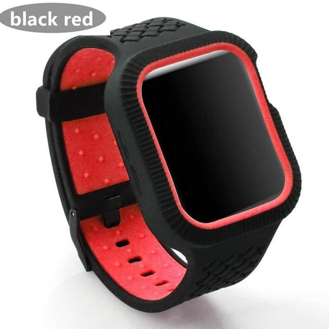 Watchbands black red / 42mm/44mm Case+watch strap For Apple watch band 44 mm/40mm iWatch band 42mm 38mm Woven Silicone watchband bracelet Apple watch 5 4 3 21 40