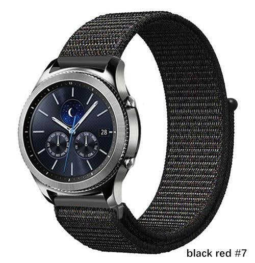 Watchbands black red 7 / 20mm Gear s3 Frontier strap For Samsung galaxy watch 46mm 42mm active 2 nylon 22mm watch band huawei watch gt strap amazfit bip 20 44