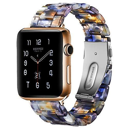 Watchbands Blue water / 42mm/44mm Resin Strap For Apple watc0h 5 4 44mm 40mm iwatch band 42mm 38mm stainless steel buckle Watchband bracelet Apple watch 5 4 3 2 1