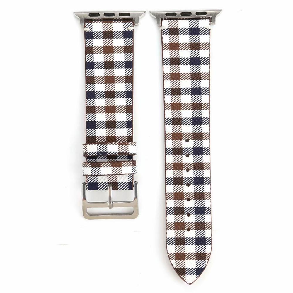 Watchbands Blue-White-Brown / 38mm-40mm Patterned Plaid Leather Wristband Strap for Apple Watch Series 5/4/3/2/1 gen Replacement for iWatch Bands