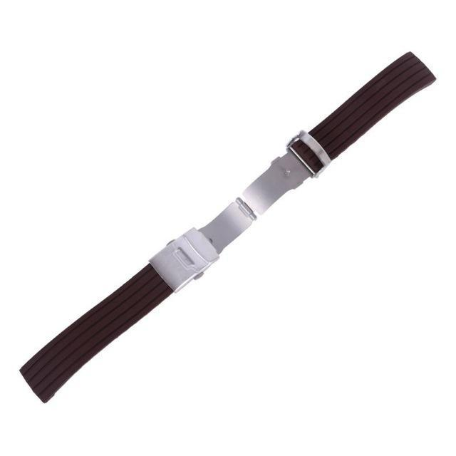 Watchbands brown / 16mm New Hot Rubber Watch Strap Band Deployment Buckle Waterproof Watchband 16mm,18mm, 20mm, 22mm, 24mm|Watchbands|