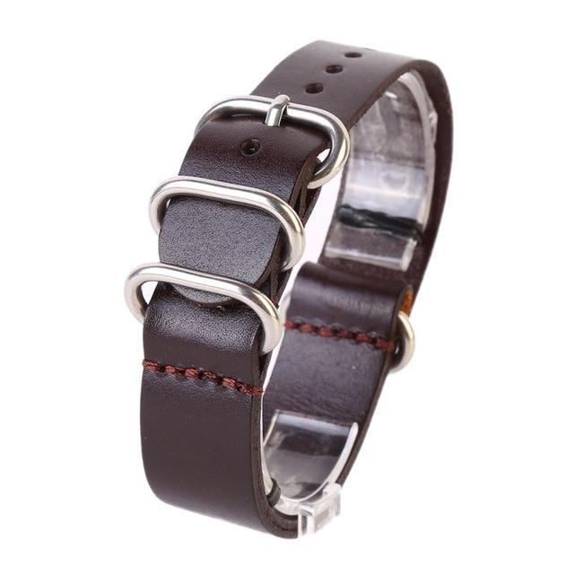 Watchbands Brown / 18mm Watch Band Strap Genuine Leather Stainless Steel Ring Pin Buckled Wristband Wristwatch Bands Replacement Accessories|Watchbands|