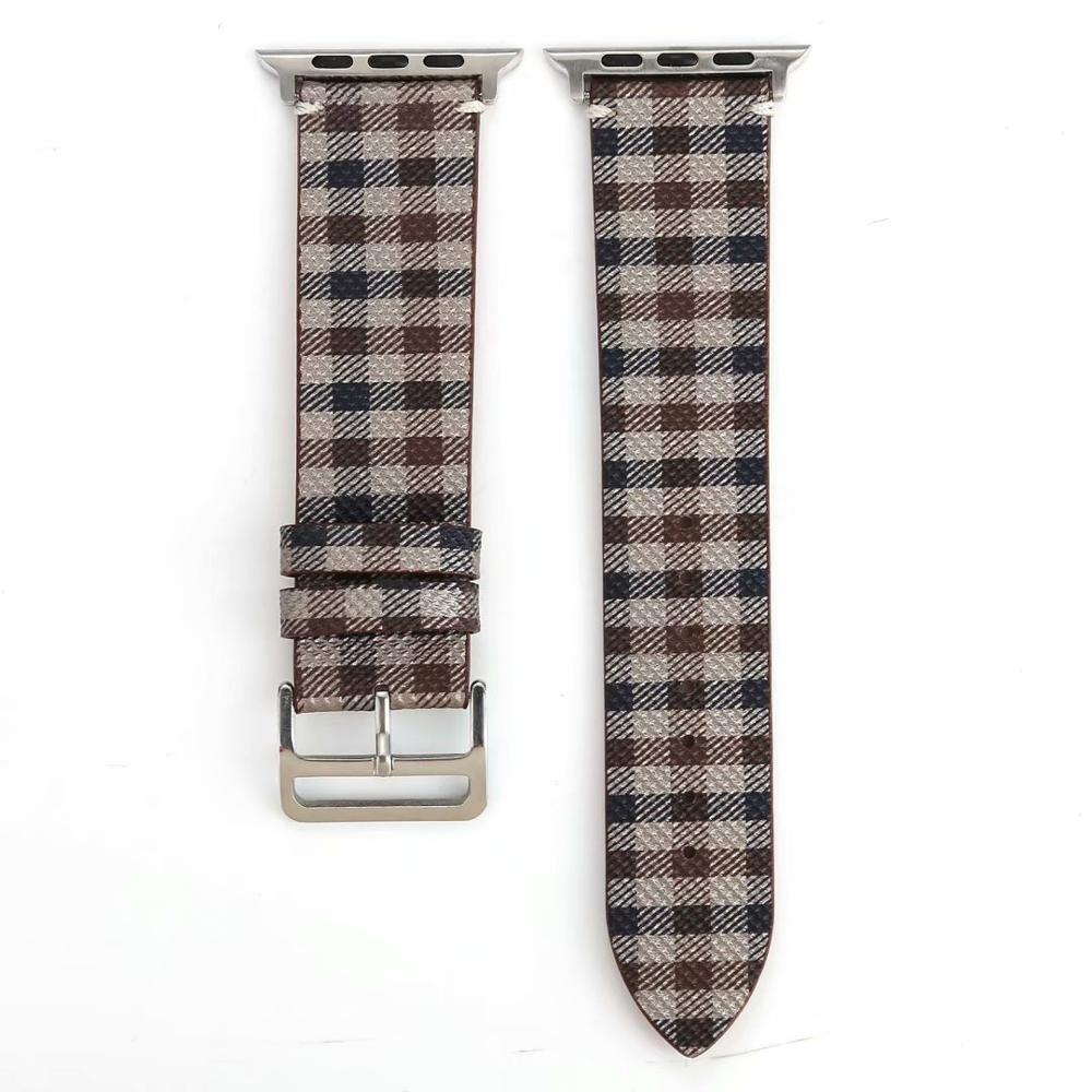 Watchbands Brown-Grey-Blue / 38mm-40mm Patterned Plaid Leather Wristband Strap for Apple Watch Series 5/4/3/2/1 gen Replacement for iWatch Bands