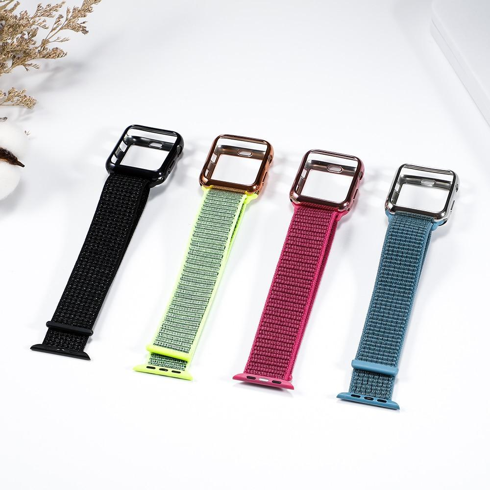 Watchbands Case+strap For apple watch band apple watch 5 4 3 band case 44mm/40mm correa 38 mm iwatch band 42mm nylon bracelet watchband