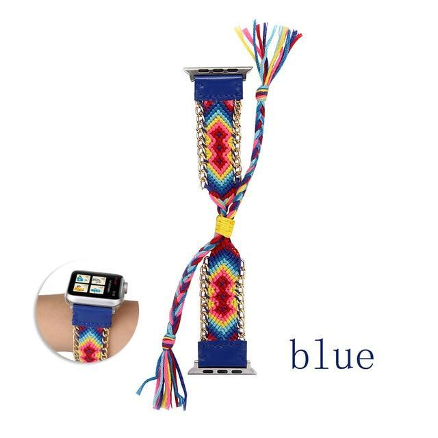 Watchbands China / Dark blue / 38mm or 40mm Handmade friendship Braided rope strap for Apple watch band 44mm 40mm 42mm 38mm bracelet watchbands fits iwatch series 5 4 3 2