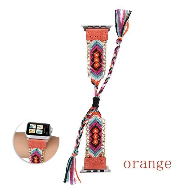 Watchbands China / Orange / 38mm or 40mm Handmade friendship Braided rope strap for Apple watch band 44mm 40mm 42mm 38mm bracelet watchbands fits iwatch series 5 4 3 2