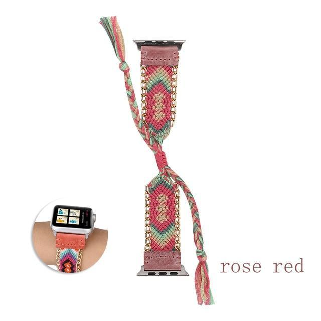 Watchbands China / Rose / 38mm or 40mm Handmade friendship Braided rope strap for Apple watch band 44mm 40mm 42mm 38mm bracelet watchbands fits iwatch series 5 4 3 2